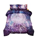 Meeting Story 3Pcs Galaxy Dream Catcher Mandala Bohemian Quilt Bedding Comforter Set (Galaxy-Purple, Queen)