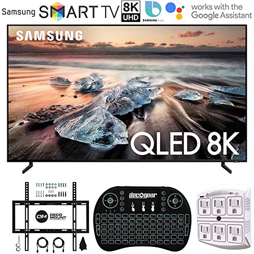 Samsung QN65Q900RB 65' Q900 QLED Smart 8K UHD TV with 1 Year Warranty (2019 Model)(Renewed) Flat Wall Mount Bundle with Deco Gear 2.4GHz Wireless Keyboard Smart Remote and 6-Outlet Surge Protector