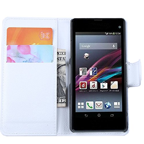 Ycloud Tasche für Sony Xperia Z1 Compact (4.3 Zoll) Hülle, PU Ledertasche Flip Cover Wallet Hülle Handyhülle mit Stand Function Credit Card Slots Bookstyle Purse Design weiß
