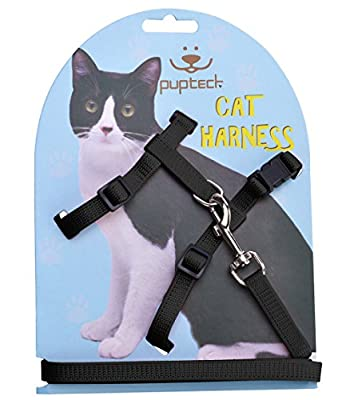 Adjustable Cat Harness Nylon Strap Collar with Leash PUPTECK