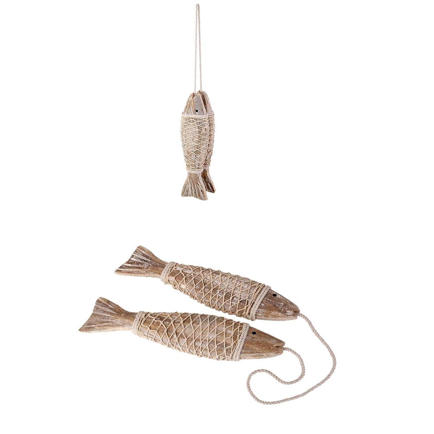 カスタム発明補助金FutuHome 4 X航海の魚の像ぶら下げクラフト木製魚フィギュアオーシャンビーチデッキ飾り