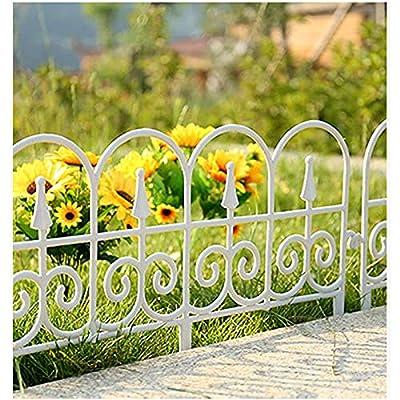 5PCS Decorative Garden Border Fence White Black Decorative Plastic Garden Fencing Landscape Edging Wire Folding Fencing Patio Border for Outdoor Flower Bed Dog Barrier Tall Garden Edge (White 5pcs)