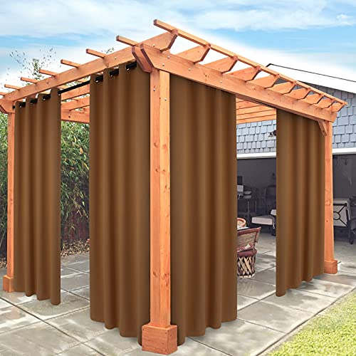 Stiio Outdoor Patio Curtains Waterproof, 1 Panel Grommet Thermal Insulated Blackout Curtains UV Protection Privacy Curtains 84 Inch Length for Porch Pergola Cabana Gazebo, Brown