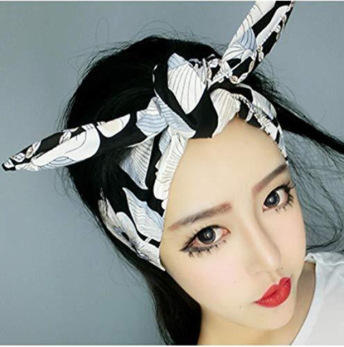 Pin Wit Zwart Bloemen Hoofdband Haarband Headdress Bow Bunny Oren