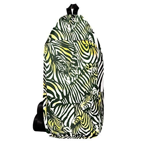 EZIOLY Animal Zebra Herde Gelb Schwarz Weiß Schulter Rucksack Sling Bag Crossbody Tasche Reise Wandern Daypack für Männer Frauen