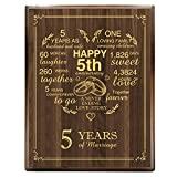 yuzi-n 5th Wedding Anniversary Engraved Gold Wood Plaque, 5 Years Wedding Anniversary for Men, for Women, for Couple