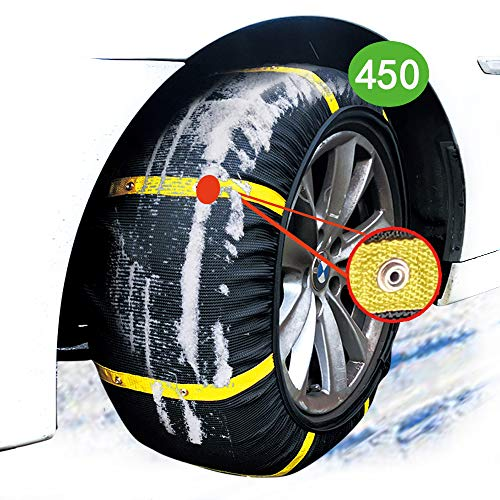 atliprime 2pcs Anti-Skid Safety Ice Mud Tires Snow Chains Auto Snow Chains Fabric Tire Chains Auto Snow Sock on Ice and Snowy Road (SD450)