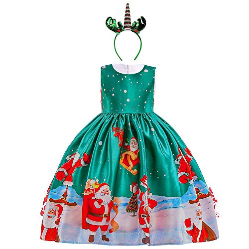OBEEII Niñas Vestido de Navidad Traje Christmas con Diadema de Reno Disfrace Xmas Fiesta Halloween Carnaval Ceremonia Aniversario para Bebé 7-8 Años