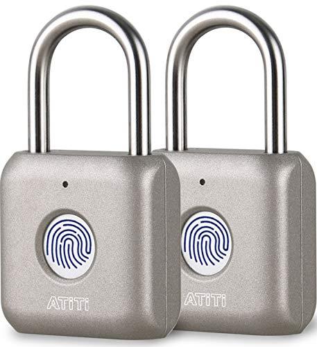 Fingerprint Padlock, 2 Pack Smart Padlock with Keyless, Biometric Padlock Suitable for Locker, Gym, Luggage, Bags, School, Office, Fence, Suitcase and Backpack