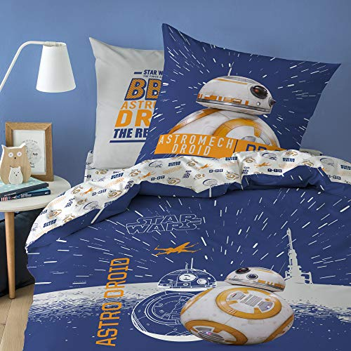 Star Wars BB8 Bed Linen Set, 100% Cotton, White, 140 x 200 cm + 63 x 63 cm