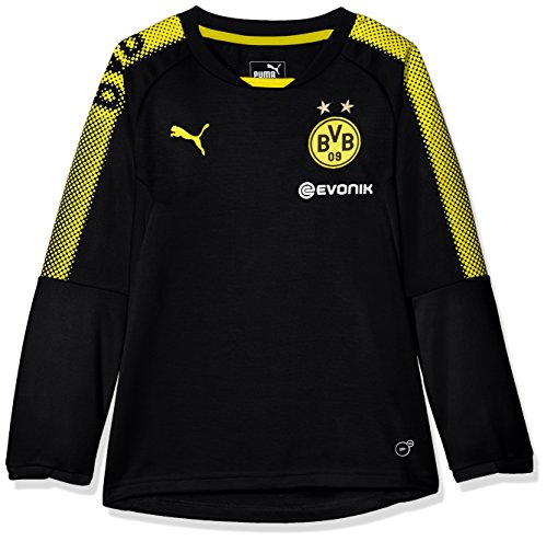 PUMA Kinder BVB Training Sweat with Sponsor Logo Mantel, Black-Cyber Yellow, 176