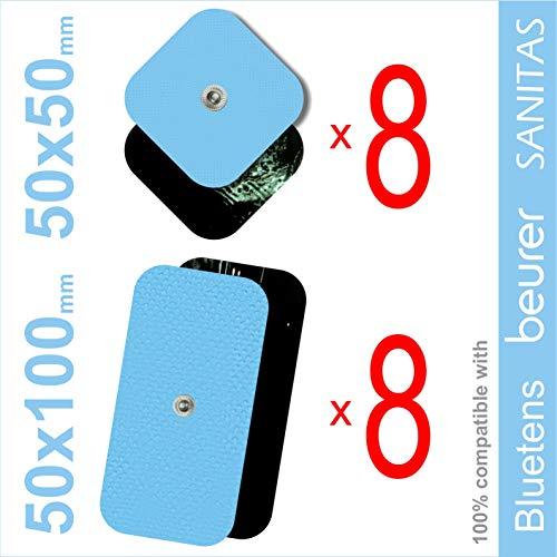 TENSPAD SILVER Set mit 16 Elektroden für VITALCONTROL, SANITAS, Beurer, BLUETENS (8 Elektroden 50x50mm und 8 Elektroden 50x100mm mit 1 Schnappverbinder 3,5 mm)