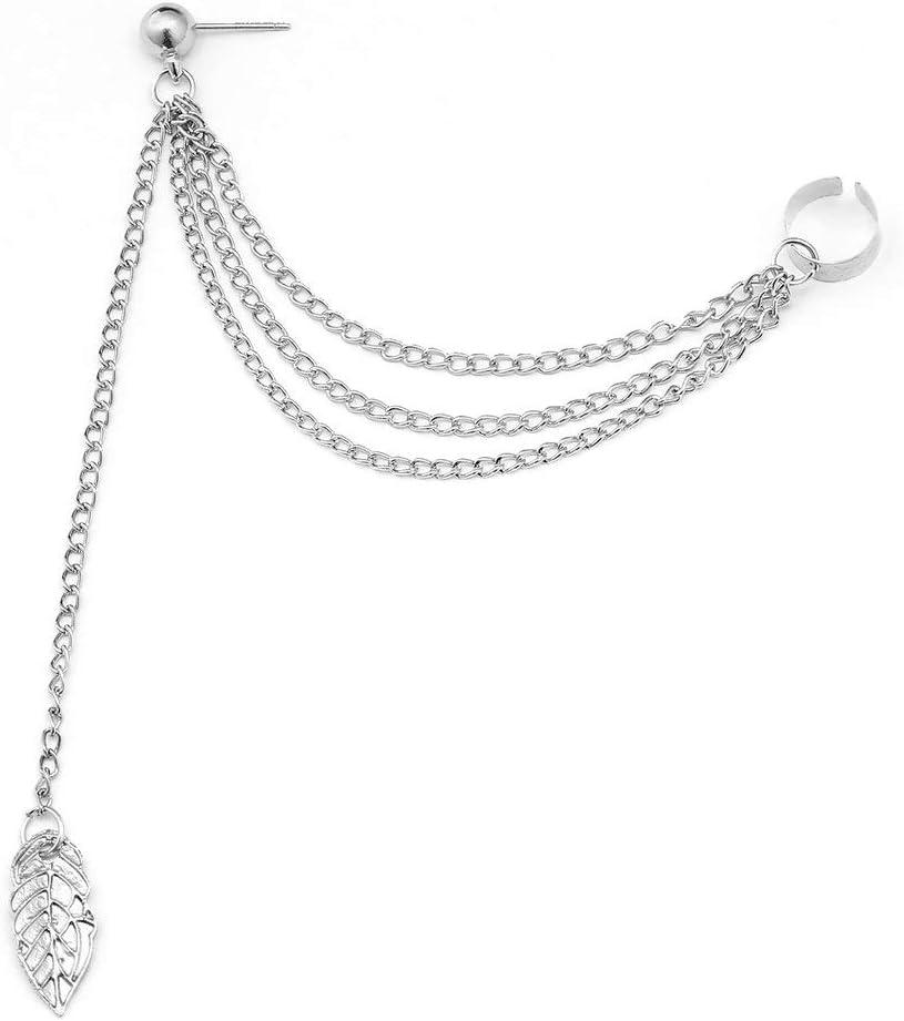 1 Pcs Women Long Earrings Punk Rock Metal Leaves Tassel Chain Dangle Ear Cuff Wrap Earrings Ear Clip Party Wedding Jewelry