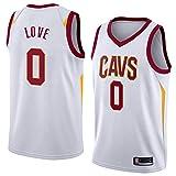 HS-XP Jersey De Baloncesto De Los Hombres - Cavaliers De NBA Cleveland # Kevin Love # 0 Jersey - Camiseta con Cuello En V Transpirable Y Resistente Al Desgaste,Blanco,XXL(185~190cm)