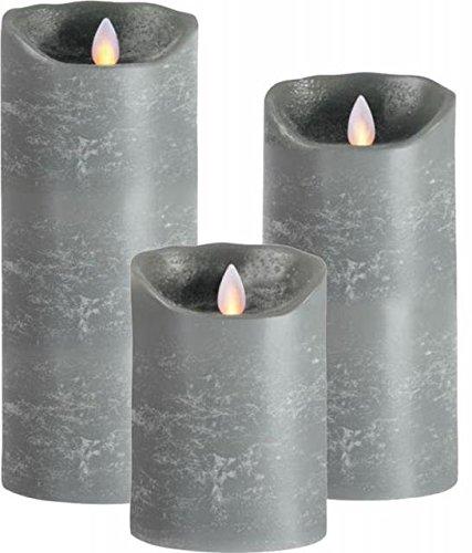 sompex Lot de 3 bougies LED en cire véritable Gris 12,5/18/23 cm