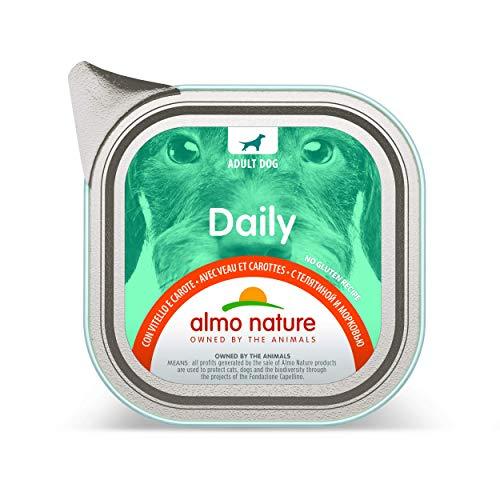 almo nature - Cibo Umido Senza glutine con Vitello e Carote, Confezione da 32 vassoi da 100 g, 100% riciclabili, per Cani Adulti