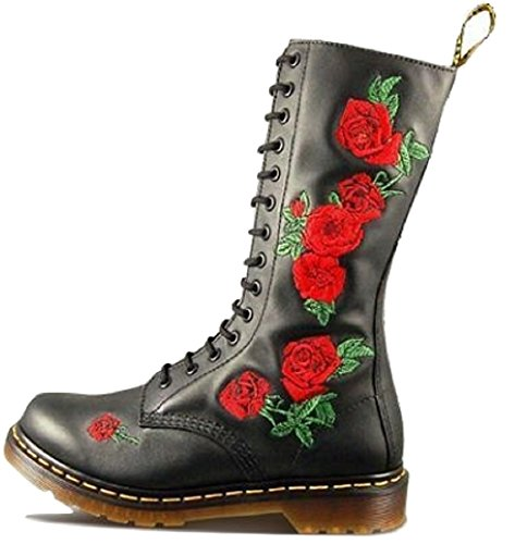 Dr Martens Vonda, stivali da donna, altezza ginocchio, con 14occhielli, in morbida pelle e con motivo floreale , Nero (Black), 38 EU