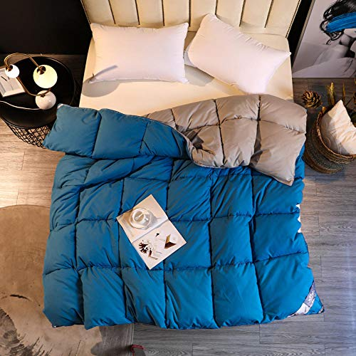 CHOU DAN double duvet 7.5 tog,Thickened cotton winter quilt single double student quilt spring and autumn warm quilt-200 * 230cm 4000g_Blue 1+Gray 1