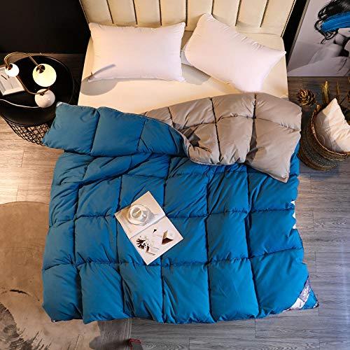 CHOU DAN Verano EdredóN De Fibra,Edredón de Invierno de algodón Grueso edredón de Estudiante Doble Individual edredón cálido de Primavera y otoño-El 180 * 220cm 2000g_Azul 1 + Gris 1