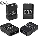 Lipo Battery Tester,4Pack BX100 RC 1-8S Low Voltage Buzzer Alarm Super Sound Warning Checker with LED Indicator for Lipo Life LiMn Li-ion Battery