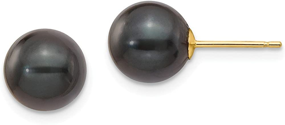 14k Yellow Gold 8-9mm Round Black Saltwater Akoya Cultured Pearl Stud Post Earrings mm