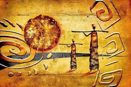 WPJ Personnages Africains Or Paysage Abstrait Peinture À l'huile Toile Affiche et Impression, Art sur Le Salon Mur Photo sans Cadre (Size (inch) : 50x70cm no Frame)