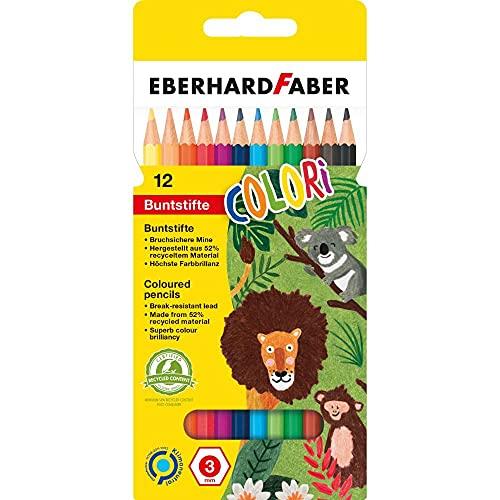 Eberhard Faber 514812 - Colori Buntstifte, hexagonale Form, in 12 Farben, im Kartonetui, zum Malen, Illustrieren und Zeichnen