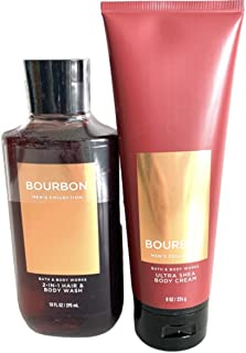 Bath and Body Works Men's Collection Ultra Shea Body Cream & 2 in 1 Hair and Body Wash BOURBON.