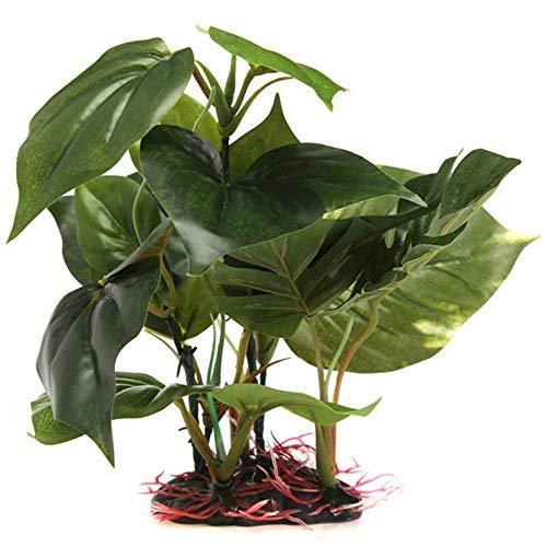Blendx Aquarium künstlich Wassergras Plastikpflanzen Monstera Blätter Deko mit Keramikbasis M