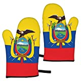 zsxaaasdf 2pc Microwave Gloves, Premium Soft Flexible Oven Gloves, Ecuador Flag Heat Resistant Kitchen Gloves, Pot Holders for Kitchen Cooking Baking Grilling Microwave