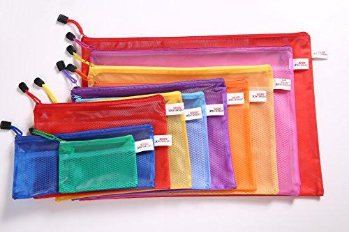 6pcs A5 Multicolor filet Surface Document fichier Zipper sac