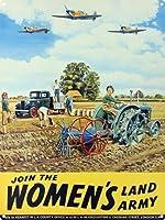 婦人農耕部陸軍ランドガールズブリキサインヴィンテージノベルティファニーアイアンペインティングメタルプレートに参加