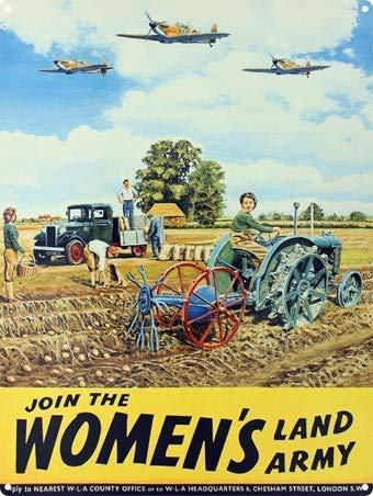 Migsrater Placa de metal con texto en inglés 'Join The Women's Land Army Land Girls', diseño de criatura