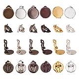 PandaHall Elite 60pcs Messing Clip-On-Ohrring-Komponenten, Schmuckzubehör Nicht durchbohrte Ohren Mischfarben