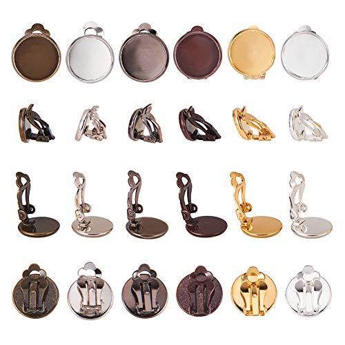 """PandaHall 60pcs 6 Colori 12mm (0.47"""") Brass Clip-on Converter orecchino, Piatto Rotondo orecchino vassoi per DIY Non orecchino Trafitto Accessori Component basi Chiusura per Orecchini"""