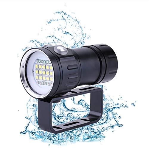 Weiyiroty Tauchtaschenlampe, 18000 Lumen IPX8 Tauchlampen 500M Unterwasser LED Taschenlampe, Helligkeits- und Beleuchtungsmodus Angepasst, füR Outdoor-Wassersportarten, Schwarz.