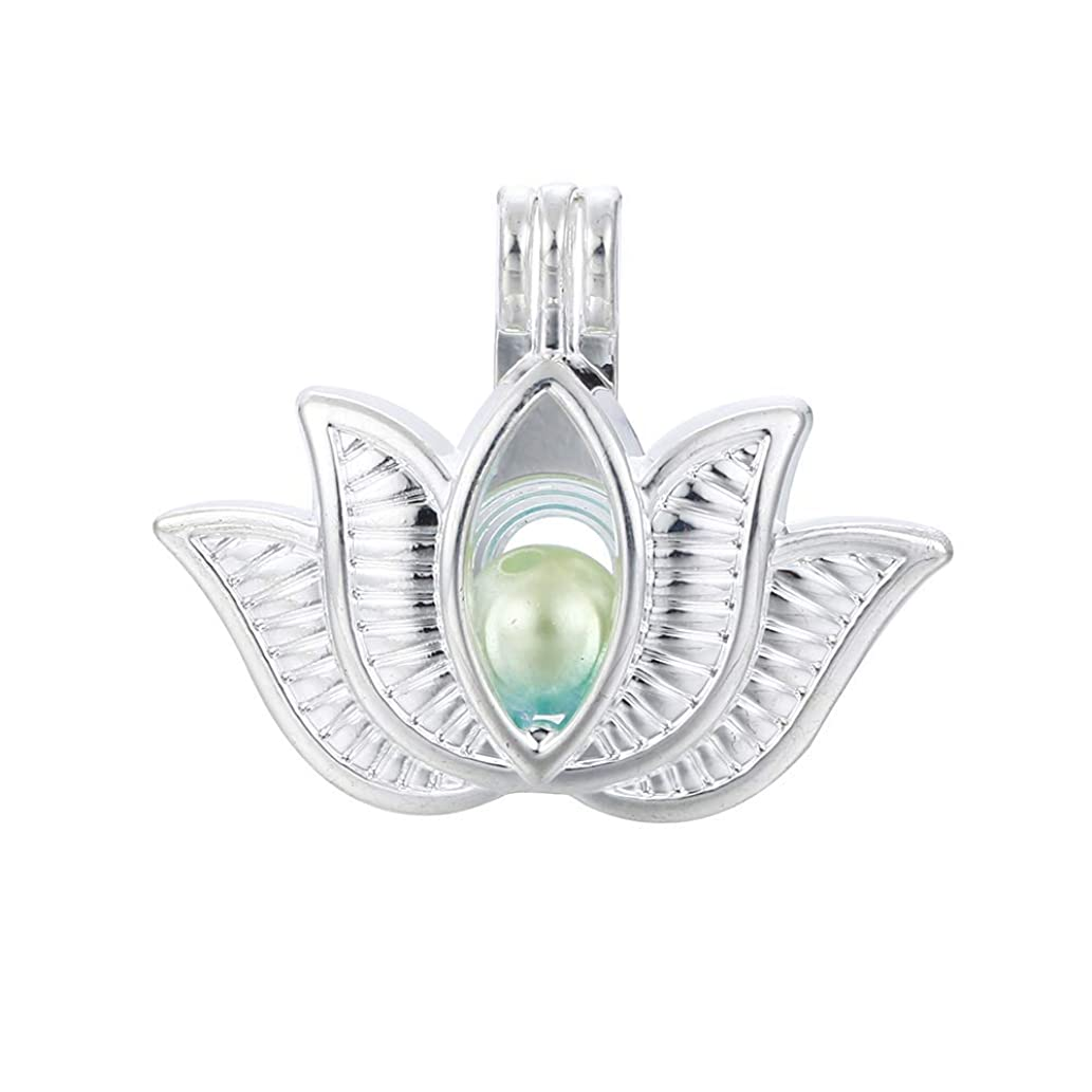 10pcs Silver Lotus Pearl Beads Cage Locket Pendants Jewelry Making-for Oyster Pearls, Essential Oil Diffuser, Fun Gifts (Lotus)