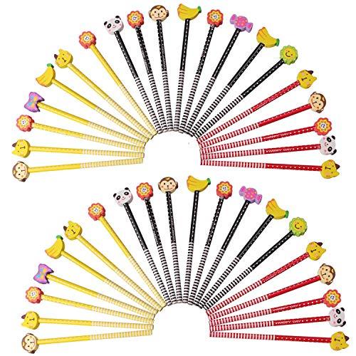 Crayons avec Gomme, Beetest® 40 PCS HB Crayons de Bande Dessinée avec Gomme Ensemble Fournitures Scolaires Enfants École Garden Party Récompense Cadeau Styles Mixtes Aléatoires
