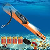 Metal Detector Professionali Pinpointer Portatile - Metaldetector Professionale Rilevatore di Metalli 12 Metri Completamente Impermeabile Sott'acqua Schermo LCD 3 Modalità di Allarme (Arancione)