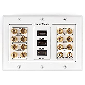 TNP Home Theater Wall Plate - 3-Gang 7.2 Surround Sound Distribution w/Premium Gold Plated Copper Banana Binding Post Coupler for 7 Speakers 2 RCA Jack for Subwoofer 3 HDMI Port for UHD 4K HD 1080P