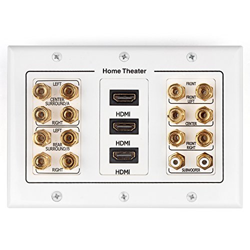 TNP Home Theater Wall Plate - 3-Gang 7.2 Surround Sound Distribution w/Premium Gold Plated Copper Banana Binding Post Coupler for 7 Speakers, 2 RCA Jack for Subwoofer, 3 HDMI Port for UHD 4K HD 1080P