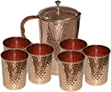Parijat Handicraft Hammered Copper Jug Pitcher & 6 Glass Tumbler , Storage & Serving water Restaurant Hotel Home, Set of 7 pieces