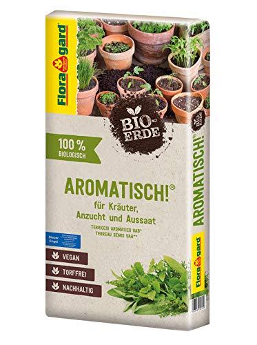 Floragard Bio-Erde Aromatisch 1x40 Liter - für Anzucht und Aussaat sowie für Kräuter - torffrei und vegan