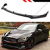 Fits for 2018-2020 Infiniti Q50 Base Premium Glossy Black Front Bumper Lip Spoiler Splitter