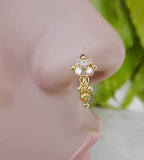 Gift For Her,Crystal Nose Ring,Indian Nose Jewelry,Nose Ring,Mother day Sale,Gold Nose Ring,Dainty Nose Ring,Diamond Nose Ring,Indian Nose Hoop,Gold Nose Hoop,Crystal Nose Hoop(TEJ597)