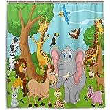 chillChur-DD Shower Curtain Set Tende da doccia Foresta Animale Mondo Elefante Giraffa Tenda da bagno impermeabile Bagno Decorazioni per la casa, 168X183 Cm (66X72 In) con 12 ganci