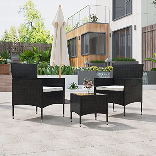 Panana Rattan Garden Furniture Set 2 Seater Wicker Chairs with Cushions Coffee Table Set Patio Backyard Conservatory Outdoor Indoor Black