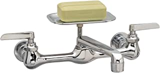 PlumbCraft Two Handle Wall Mount Utility Faucet - Chrome