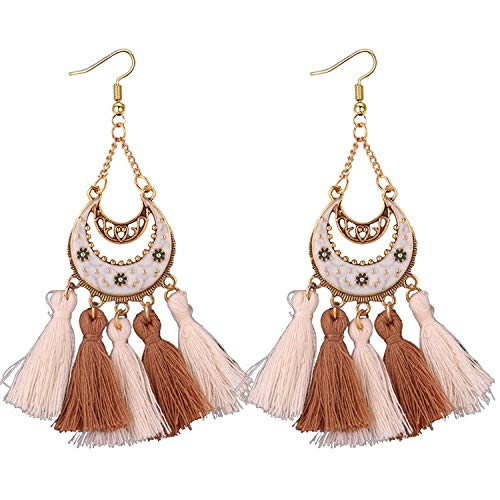 Pendientes retro con flecos de media luna personalidad de la moda pendientes de estilo étnico tallados huecos pendientes-blanco