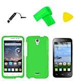 Hard Snap On Cover Phone Case + Screen Protector + Extreme Band + Stylus Pen + Pry Tool For Alcatel onetouch Pop Astro 5042T/Pixi Charm A450TL (Neon Green)